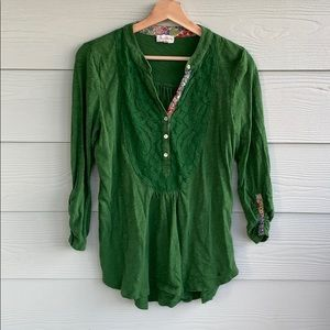 Green Anthropologie top | size S